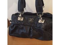Chanel Style Black Genuine Leather Large Shoulder Bag Great Cond