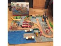 Big City wooden train set with additional pieces