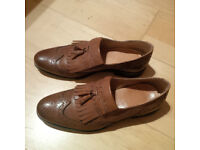 Brown leather male shoes - size 42 - Office