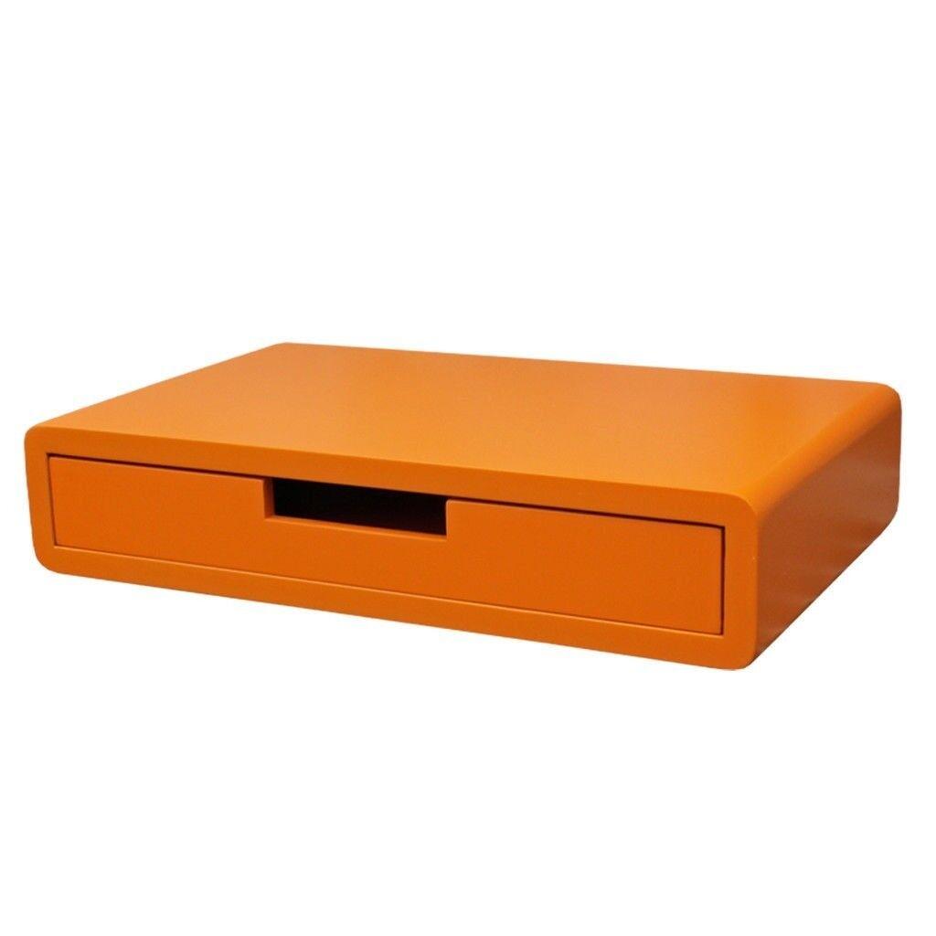 shelving wall mounted drawer floating wall box orange storage box