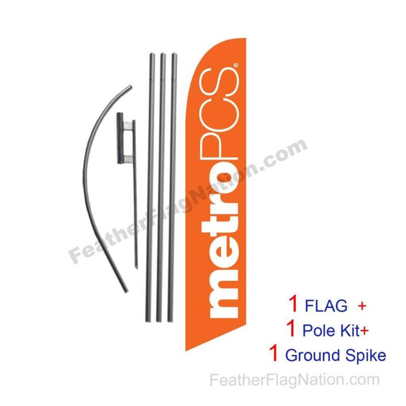 Orange MetroPCS Feather Banner Swooper Flag Kit with pole+spike