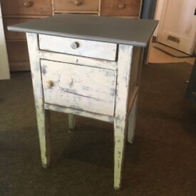 Bedside Table with shabby finish body and solid grey top