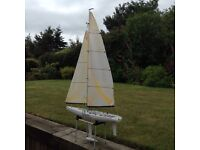 R C yacht fortune 612 by Kyosho. Rigged and ready to sail.