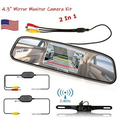 "Wireless Car Backup Camera Rear View System Night Vision + 4.3"" Mirror Monitor"