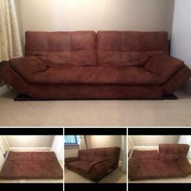 £35 brown soft worn leather look modern sofa bed from Benson for beds