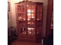 Pine glass display cabinet