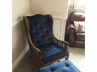 Cane Blue Velour Lounge winged chair and footstool
