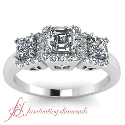 1 Carat Asscher Cut Halo Diamond Engagement Ring Pave set  In 14K White Gold GIA 1
