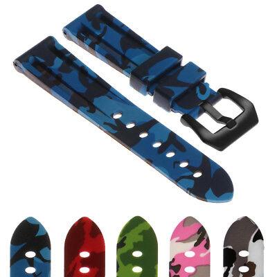 StrapsCo Camo Rubber Silicone Watch Strap Camouflage w/ Matte Black Pre-V (Matte Black Rubber)