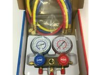 R600A GAS DOUBLE MANIFOLD WITH 3 CHARGING HOSE BLUE YELLOW RED FRIDGE ENGINEER