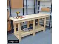 Wooden Workbench - Made from Solid Pine - NO MDF / PLY. Very Strong - Quality Finish.