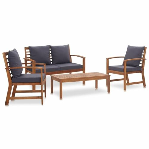 Garden Furniture - 4pcs Garden Lounge Sofa Set With Cushions Sturdy Acacia Wood Outdoor Furniture