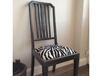 Grey Painted Hall Chair with Zebra Print Fabric