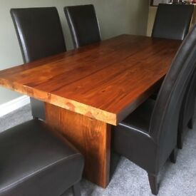 Solid Wood Dining Table + 6 Matching Leather Chairs ...