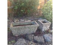 Stone effect garden pots