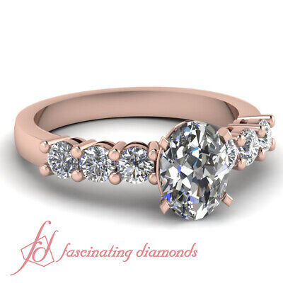 .85 Carat Oval Shaped Diamond Round Accented Ring In Rose Gold For Women GIA