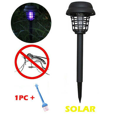 Solar Powered LED Light Mosquito Pest Bug Zapper Insect Killer Lamp Garden