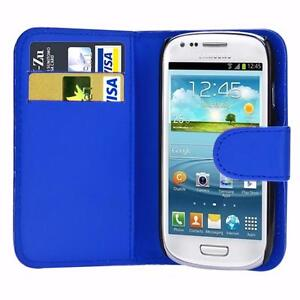 Samsung Galaxy S4 Mini Premium Executive Faux Leather Canvas Book Style Card Slot Folding Flip Folio Wallet Cover Stand