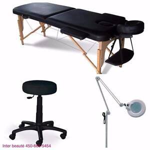Ensemble table de massage +lampe loupe+ tabouret hydraulique
