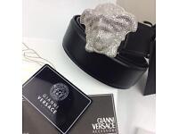 Diamond rare belt chrome custom men's leather belt Versace hard to find boxed perfect receipts