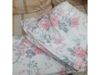 CREAM CURTAINS WITH PINK ROSES 72drop