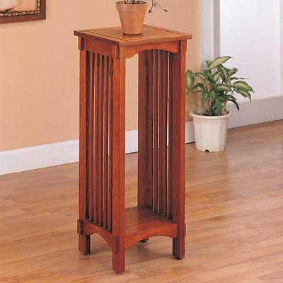 Oak Mission Style Table - Mission Style Plant Side Stand Table in an Oak Finish by Coaster 4040