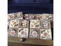 Antique Decorated fireplace tiles