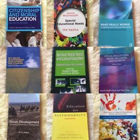 Variety of primary education university books for PGCE and BA primary education studies