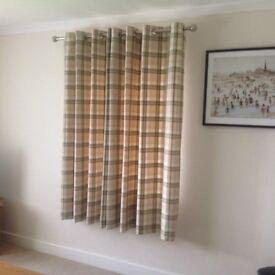 3 pairs of Thermal Lined Balmoral Check Green Eyelet Curtains