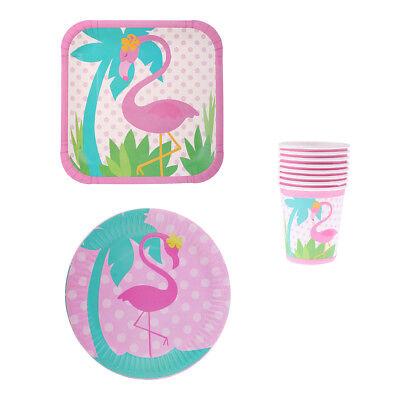 Set von 24pcs Hawaiian Luau Flamingo Thema Pappbecher Teller Geschirr Party