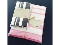 Brand New Jamie Oliver pink & white stripe table cloth and napkin set