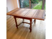 VICTORIAN OAK BARLEY TWIST DROP LEAF EXTENDABLE TABLE & SIX 6 CHAIRS 3x5 FT EXTENDED or 3x3FT