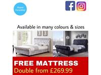 FREE MATTRSS INCLUDED CHESTERFIELD SLEIGH BED
