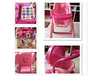 Minnie Mouse phone, learning chair, 2 in 1 pram and highchair and walker