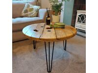 Wonkydonk S/M coffee table upcycled cable reel - Fiddes Stripped Pine