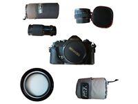 Miranda camera, 3 lens and lens bags