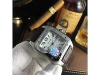 Silver Cartier Santos With Silver Casing, white Face and Brown Leather Strap Comes Bagged and Boxed