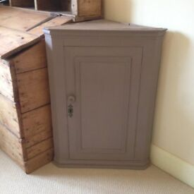 Wall Hanging Corner Cupboard Painted in Annie Sloan Coco