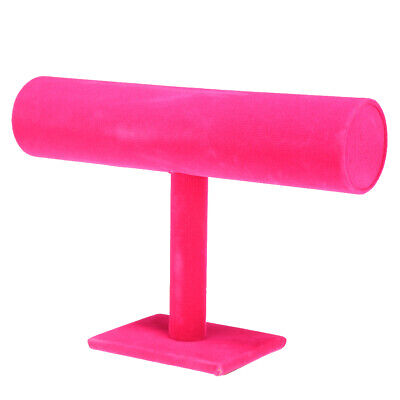 Hot Pink T-bar Jewelry Bracelet Necklace Display Stand Holder Women Gift