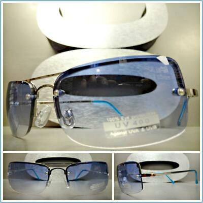 Modern Contemporary UPSCALE LUXURY Fashion SUN GLASSES Silver Frame Blue Lens