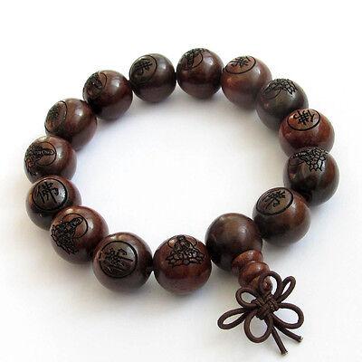 15mm--Wood Buddha Word Tibet Buddhist Prayer Beads Mala Bracelet (Mala Prayer Beads)