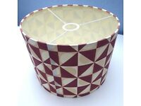 Mid century style lampshade. Pristine, as new. Ceiling pendant or for large table lamp. Geometric
