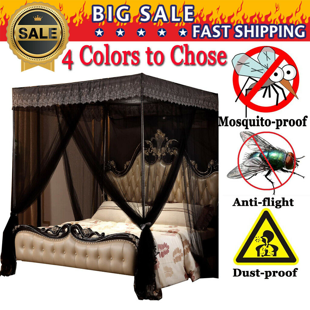 Black Luxury 4 Post Bed Curtain Canopy Netting Europe+Stainl