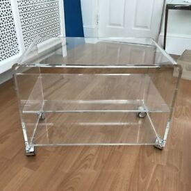 High quality transparent acrylic living room furniture TV stands with wheels