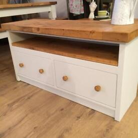 New Chunky Handmade Rustic TV Cabinet with Drawers