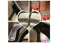 Silver party heels by Unze for sale size 6
