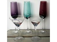 5 x Martini and wine Flutes Glasses