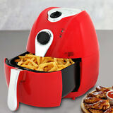 Red 1500W Electric Air Fryer 4.4 Quart With Timer Temperature Control Free Oil