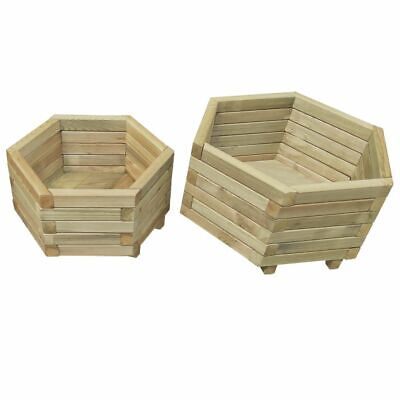 vidaXL 2 Piece Garden Planter Set Impregnated Pinewood Outdoor Plant Pot Bed