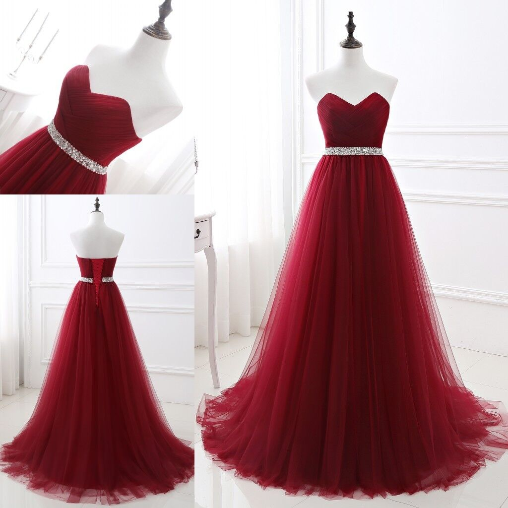 Details zu Lang Rot Tüll Abendkleid Ballkleid Absclussball Party Cocktail  Kleid Gr 20-20
